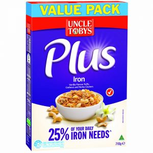 Breakfast cereal manufacturer Uncle Tobys has launched a new product in its Plus breakfast cereals range, 'Plus Iron'.